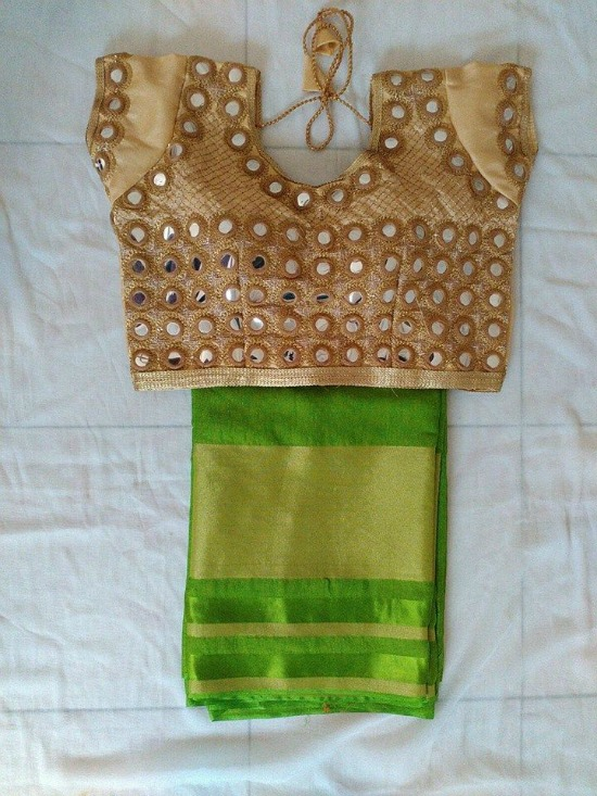 Pretty Mirror Work Green Silk Saree and Golden Blouse