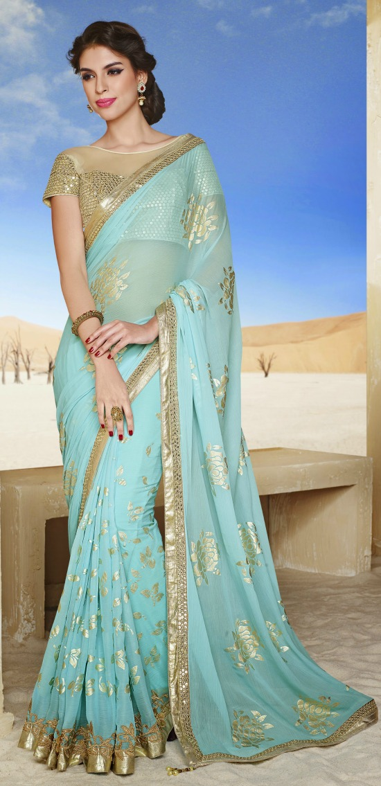 Ice Blue Saree With Sheer Yoke Gold Blouse