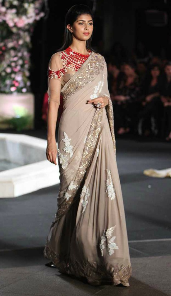 Manish Malhotra Light Warm Grey Saree Embellished With Sequins