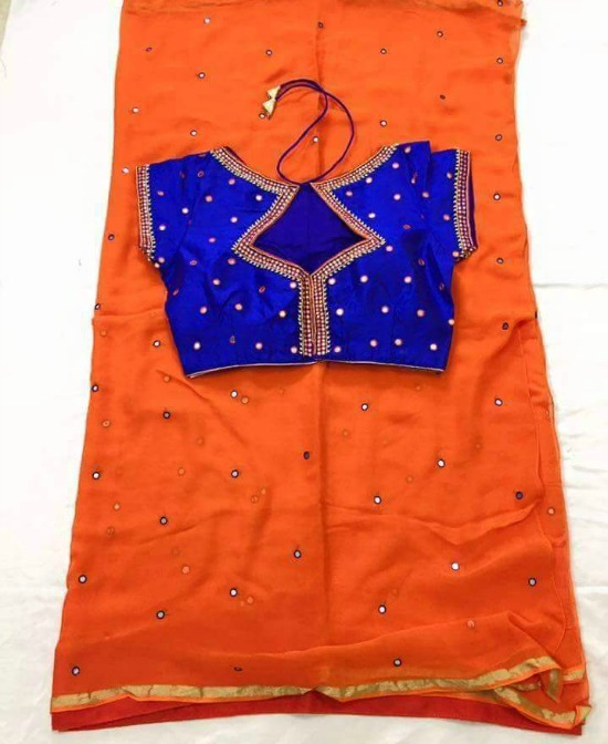 Orange Mirror Work Saree With Heart Shape Neck Blue Blouse