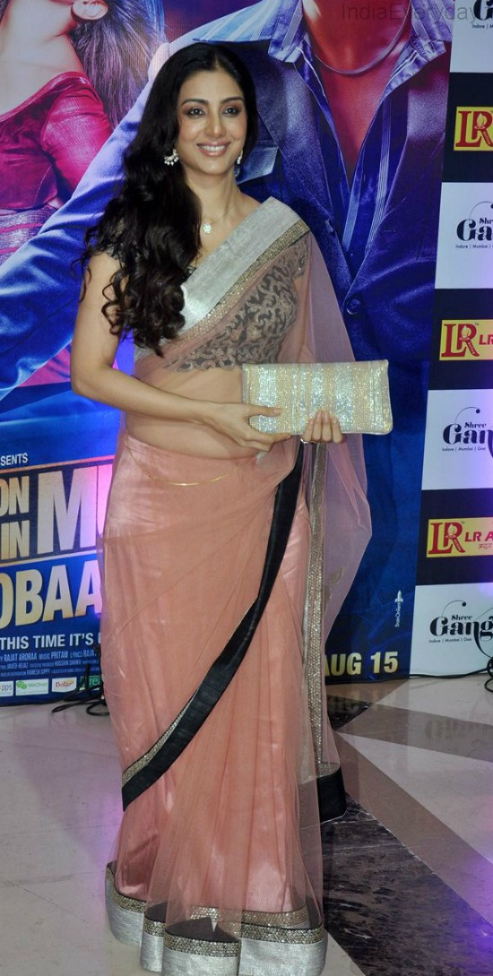 Tabu In Fancy Pink Designer Transparent Saree