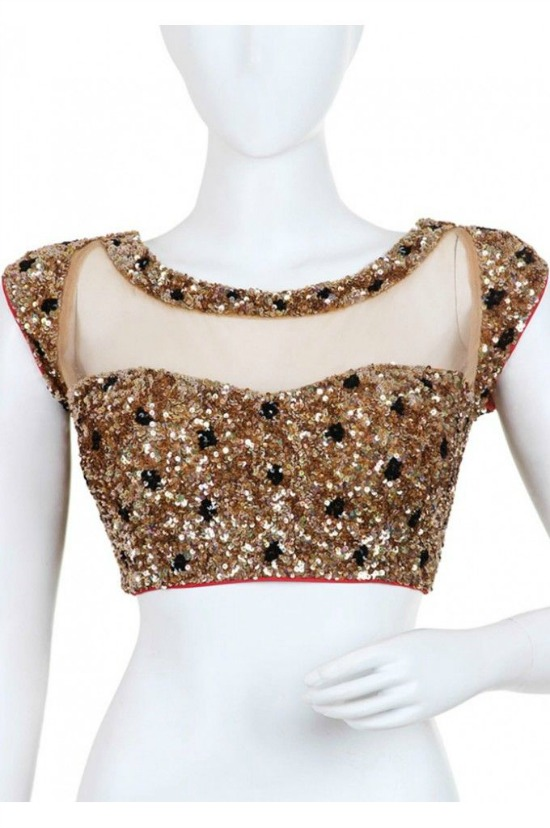 Boat Neck Blouse Made With Net Featuring Beading Of Golden And Black Sequins With A Dori At The Back