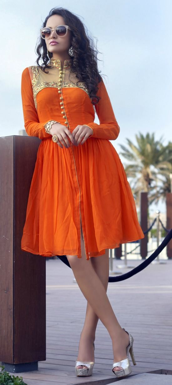 Orange Faux Indo Western Style Kurti