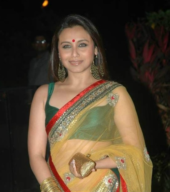 Rani Mukherjee In Beautiful Yellow Net Saree