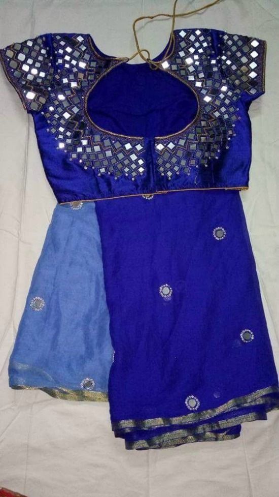 Royal Blue Saree With String Mirror Work Blouse
