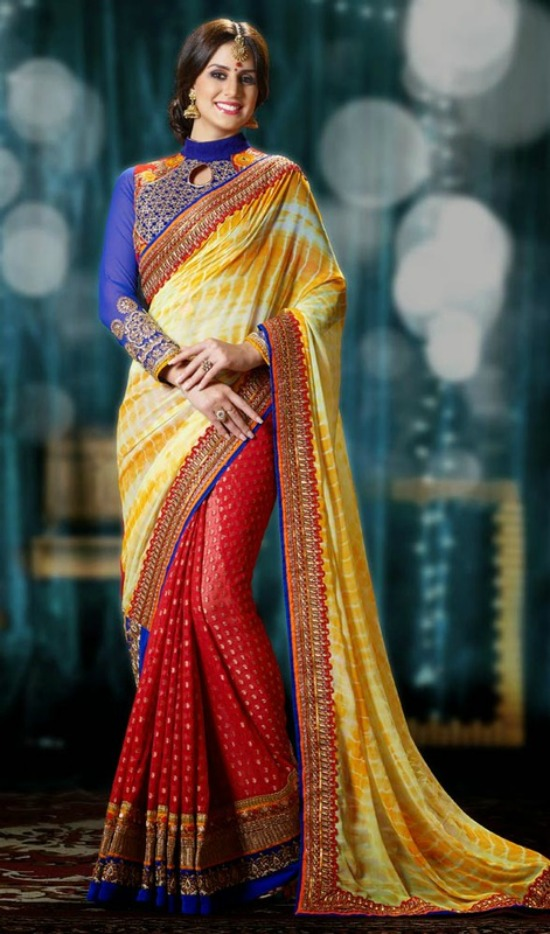 Cream, Scarlet Red And Orange Banarasi Silk Saree With High Neck Blouse