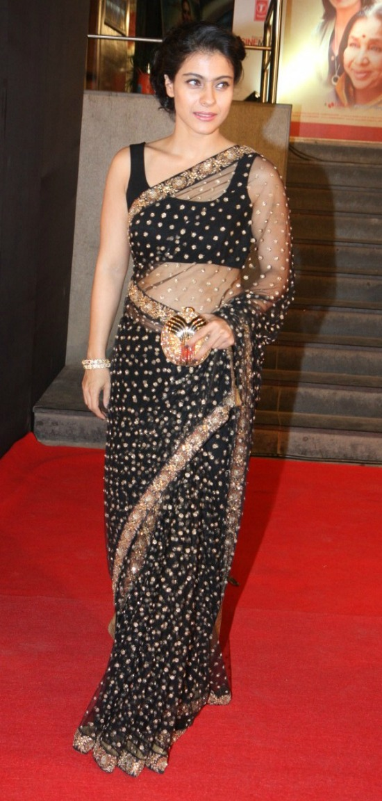 Kajol In Black Transparent Saree With Sequins work