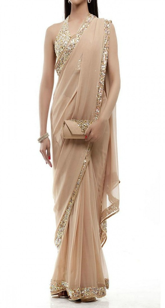Light Beige Color Georgette Saree with Designer Lace and Halter Neck Blouse
