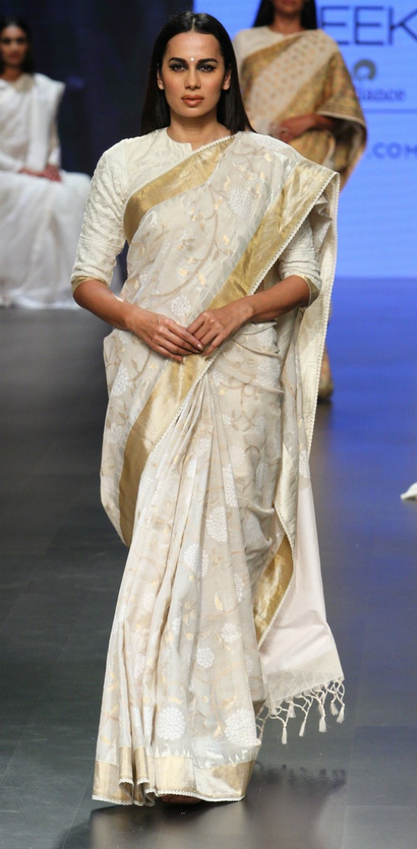Off White Designer Saree With Leaf Design All Over
