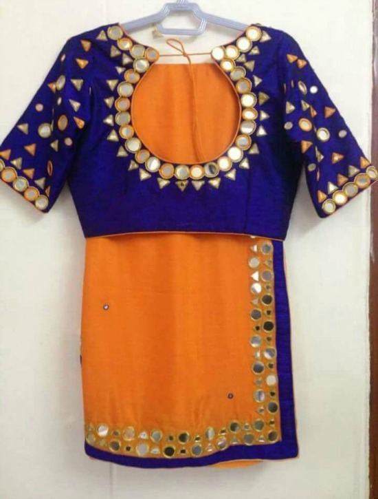 Orange and Royal Blue Voilet Mirror Work Sarees