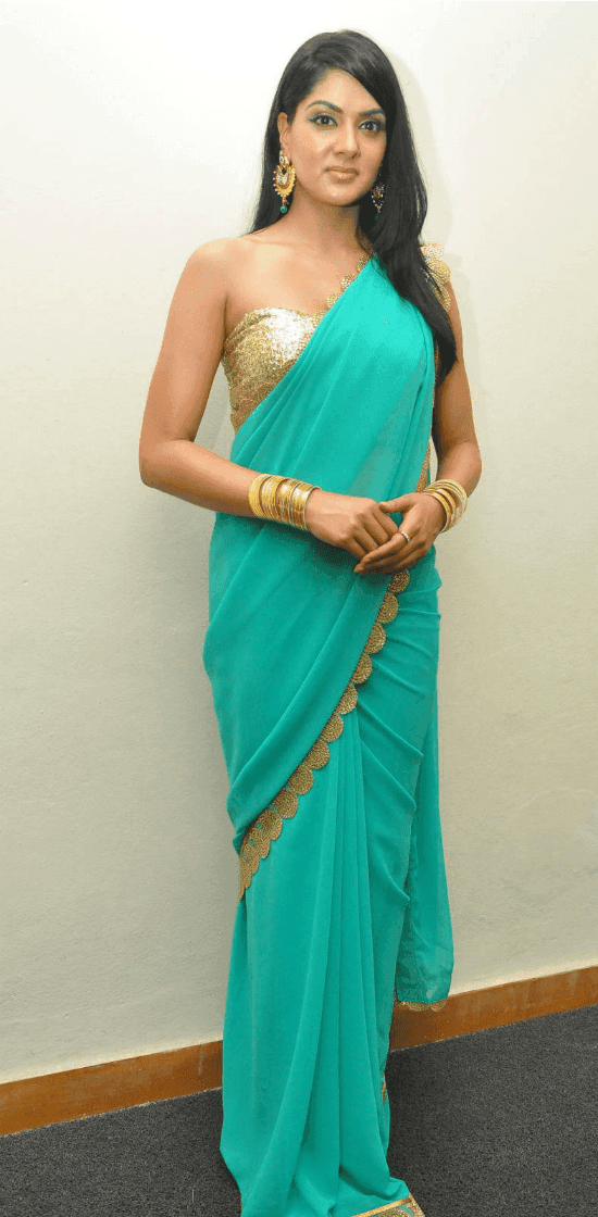 Sakshi Chaudhary In Gold Sleeveless Corset Blouse design