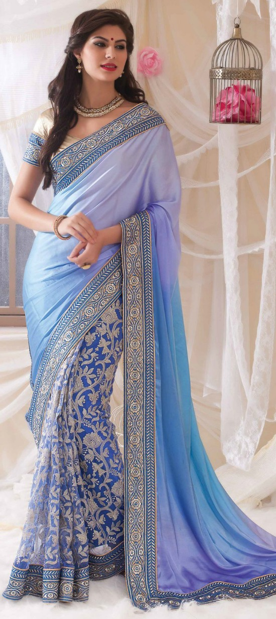 Satin Fabric Net Machine Embroidery Saree with Border Thread work