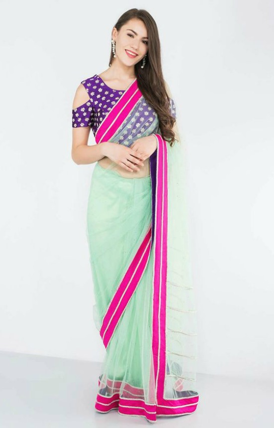 Purple And Mint Green Saree With Cold Shoulder Blouse
