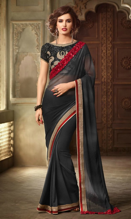 Black Colour Georgette Fabric Heavy Embroidered Blouse Party Wear Saree