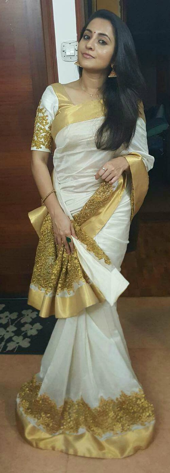 White Georgette Saree With Gold Sequins Work