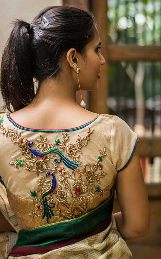 goldish brocade bustier cut blouse with sheer