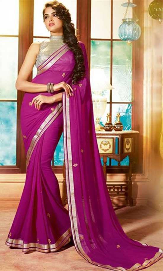 Alluring Pink Color Chiffon Saree With Sliver Color Sleeveless High Neck Blouse
