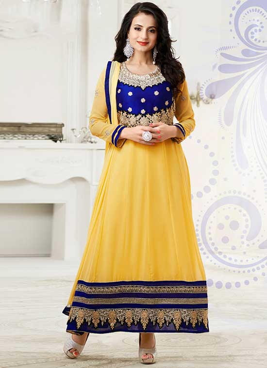 Amisha-Patel-Charming-Yellow-Georgette-Anarkali-Suit