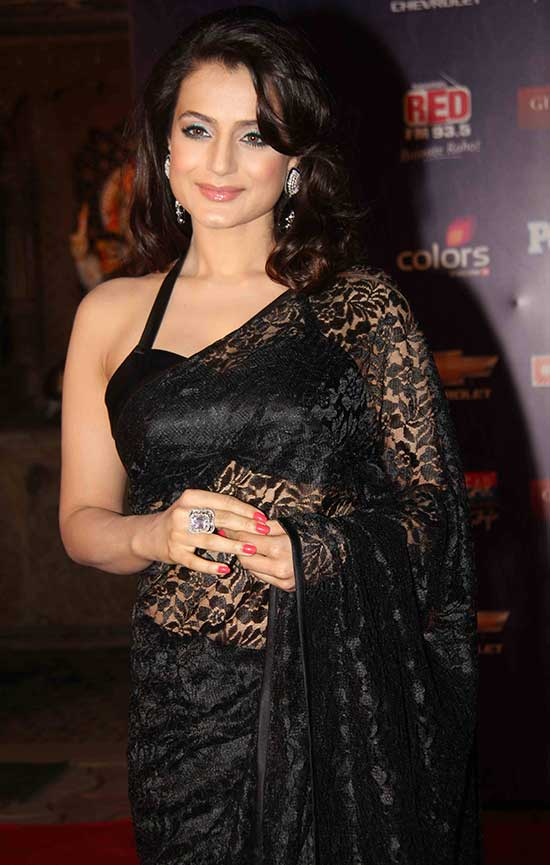 Amisha Patel is Gorgeous Black Halter blouse and Lace Saree