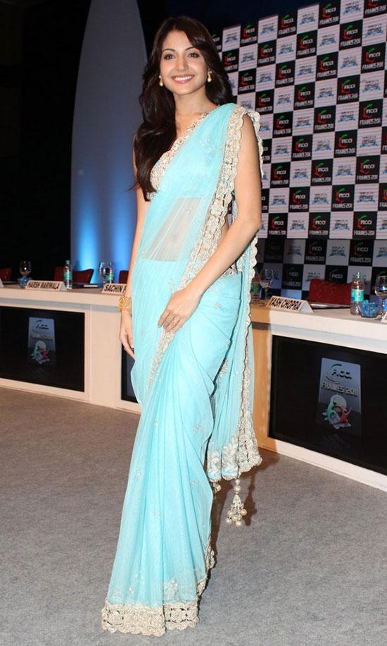 Anushka-Sharma-In-Ice-Blue-Net-Saree