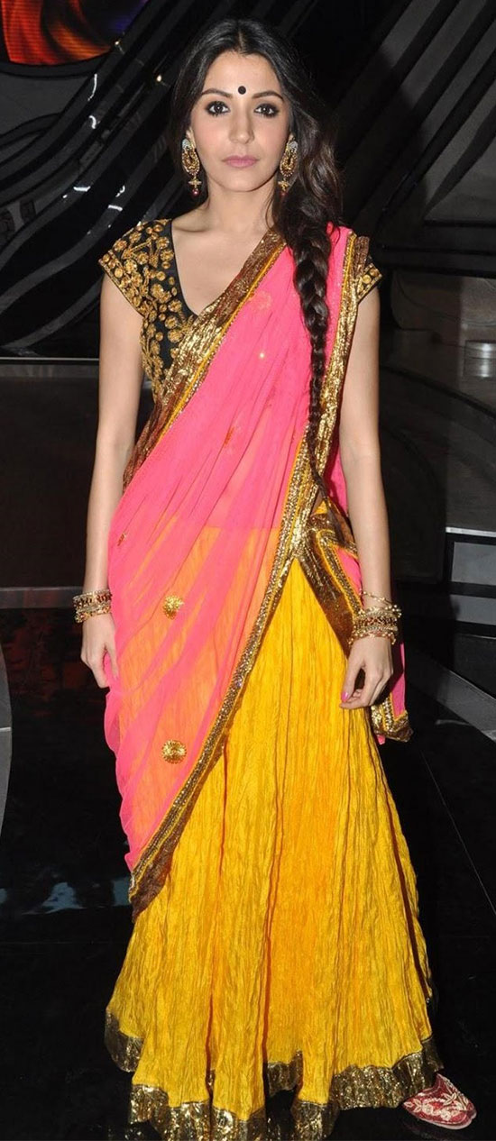 Anushka-Sharma-In-Pink-And-Yellow-Half-Saree