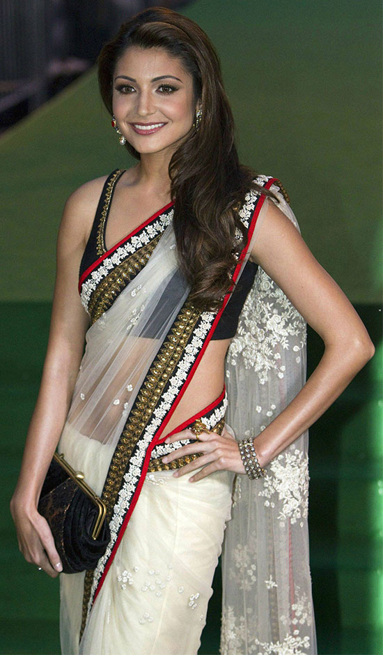 Anushka-Sharma-In-White-Net-Saree-With-Work-Border