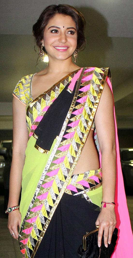 Anushka-Sharma-Looks-Gorgeous-In-Multicolor-Saree
