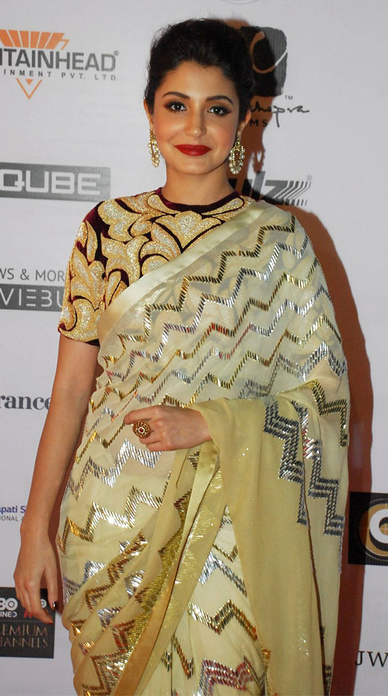 Anushka-Sharma-in-a-cream-and-gold-saree-With-Velvet-Blouse