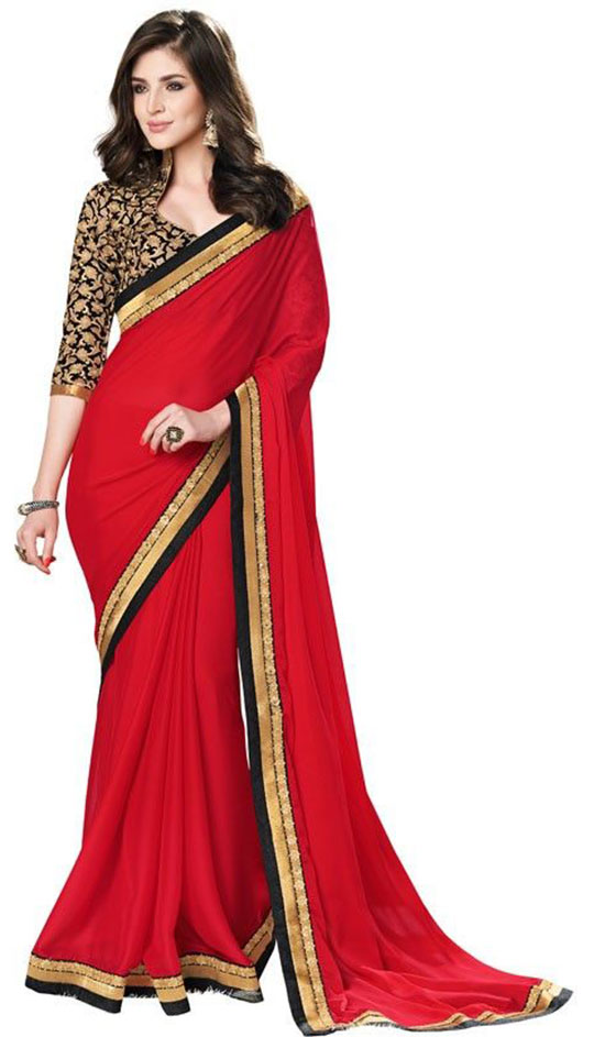 Apple Red Saree With Lace And Patch Border Saree And Stand Up Collar With Sweetheart Blouse