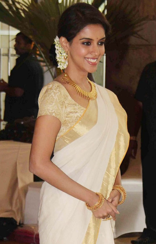Asin in Kerala Saree With Deep Straped Blouse