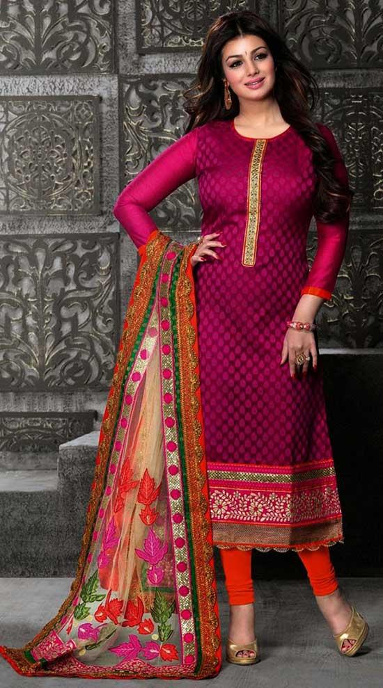 Ayesha Takia Magenta Banarasi Jacquard Churidar Suit
