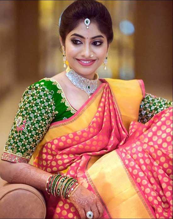 Banaras-Pattu-Saree-Blouse-With-Mirror-Work-&-Gota-Patti