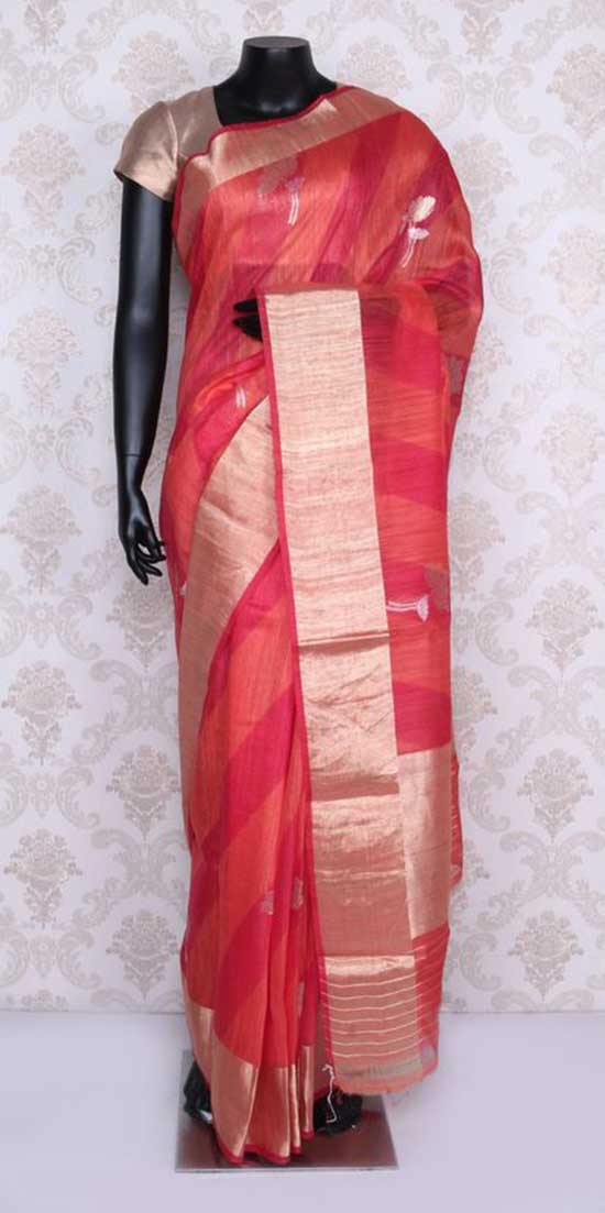Beautiful orange & red banarasi silk saree with antique gold border