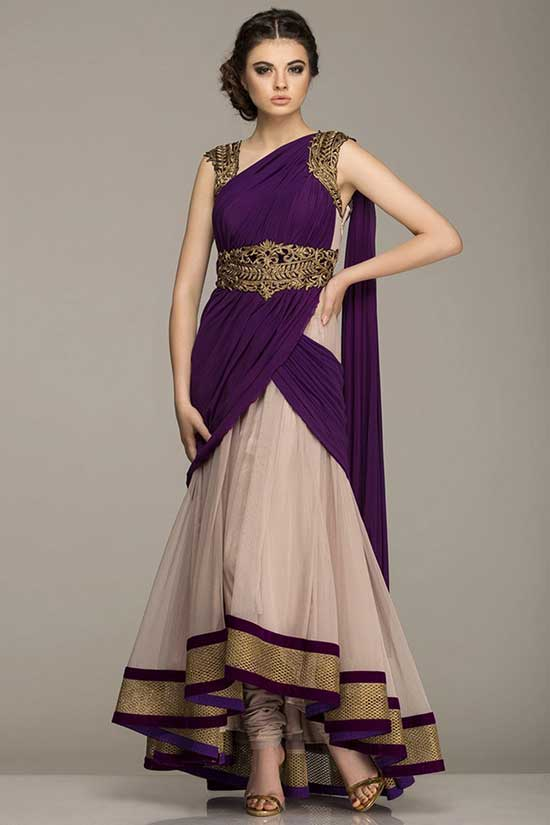 Beige And Purple Anarkali Suit