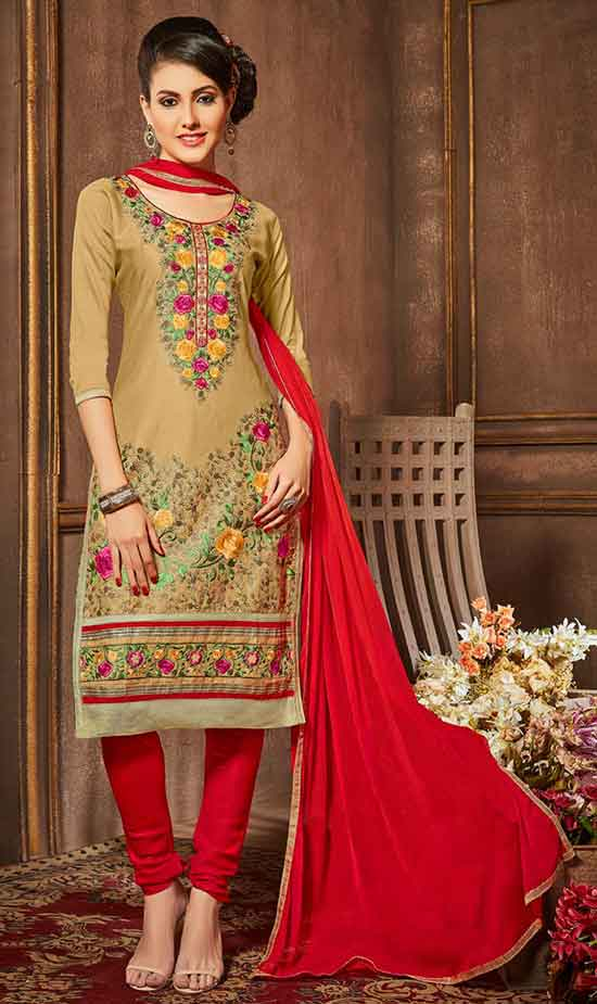 Beige Cotton Churidar Salwar Suit.jpg