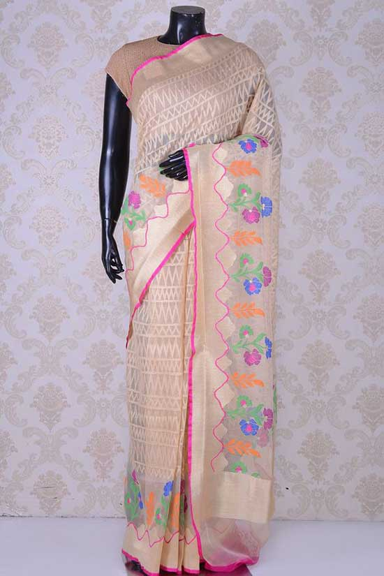 Beige beautiful banarasi bamboo net saree