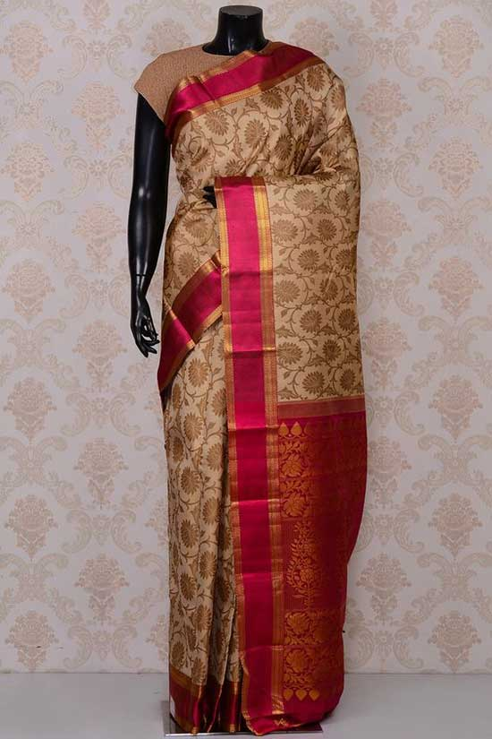 Beige excellent kanchipuram silk saree with pink border