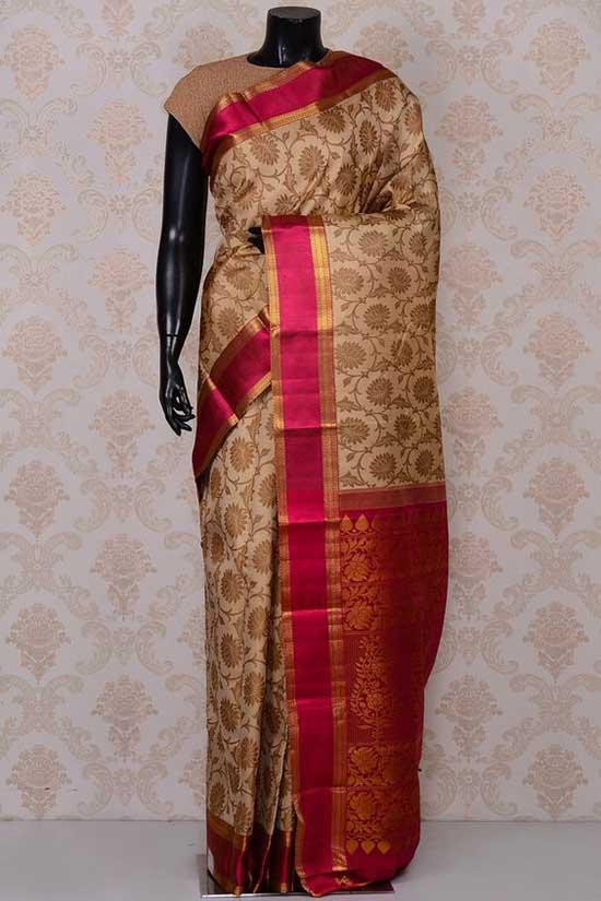 Beige excellent kanchipuram silk saree with pink border