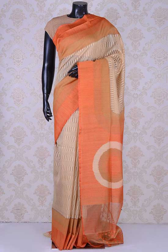 Beige graceful banarasi bamboo net saree