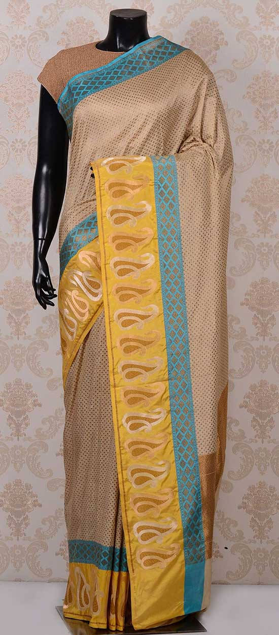 Beige lovely banarasi silk saree with mustard yellow border