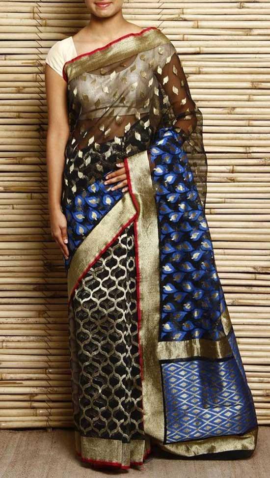 Black Banarasi Super Net Resham Embroidered Saree