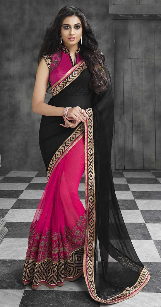 Black Chiffon Zari And Stone Work Art Silk Saree, Collar With Deep V Shape Blouse