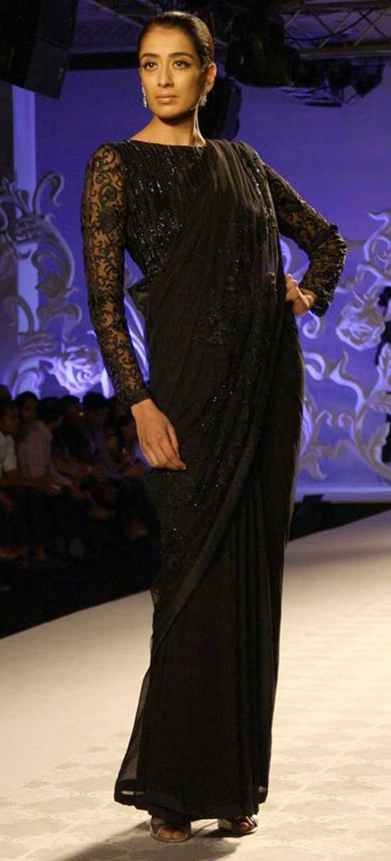 Black Designer Saree With Embellished Blouse