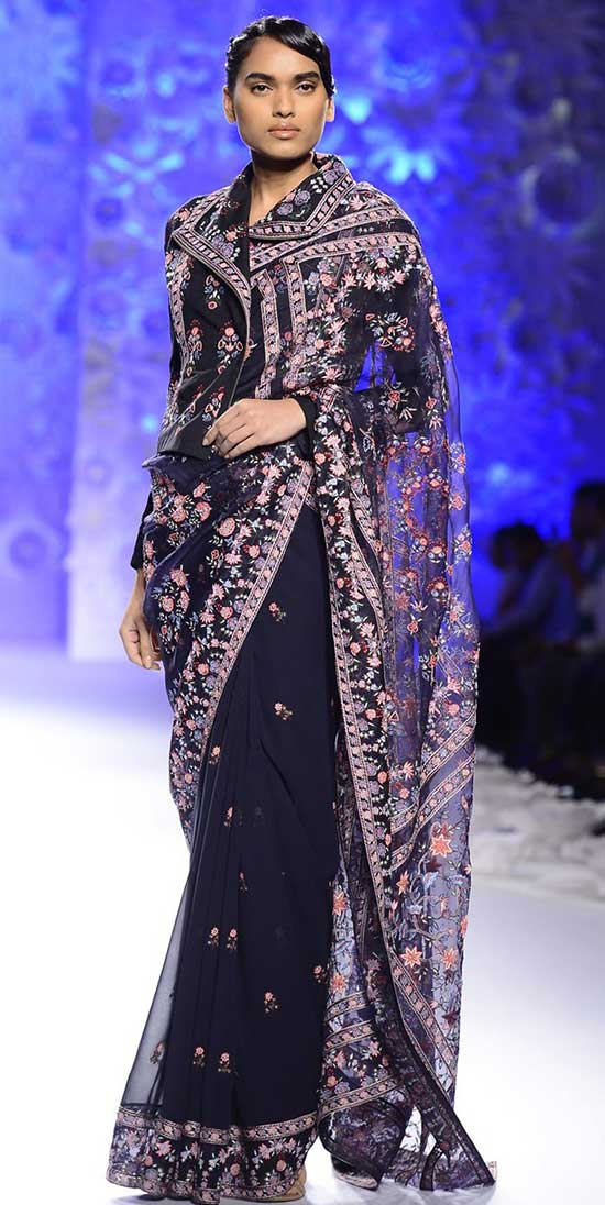 Black-Floral-Bomber-Jacket-with-Navy-Floral-Hand-Embroidered-Saree