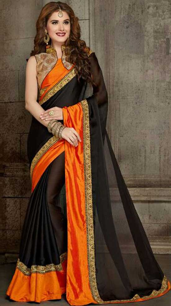 Black Orange Embroidery Work Satin Chiffon Designer Sarees With Collar Neck Blouse