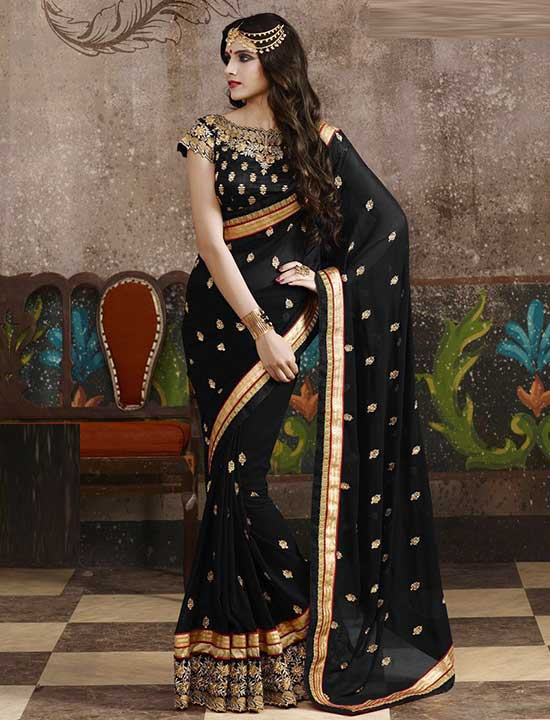 Black Satin Designer Georgette Party Wear Saree