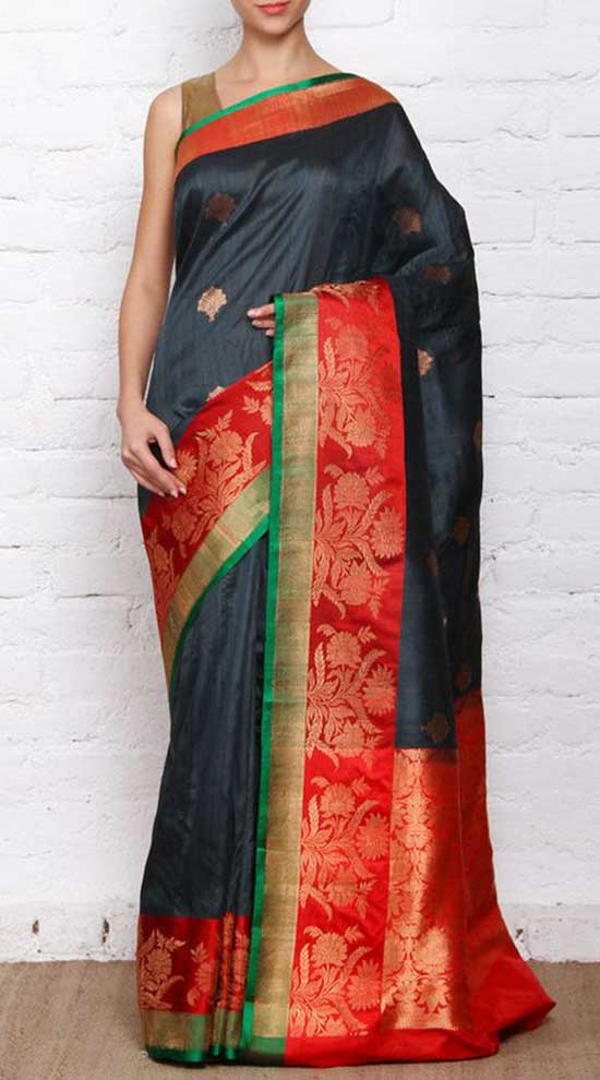 Black Zari Border Worked Banarasi Saree