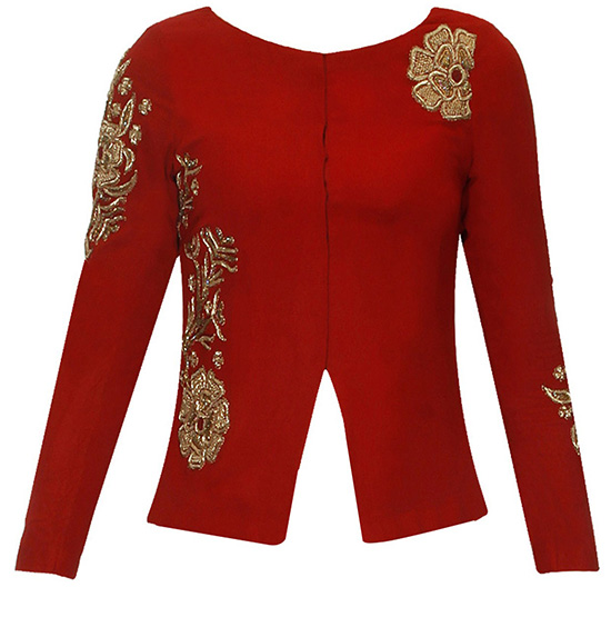Blood Red Long Jacket Style Blouse