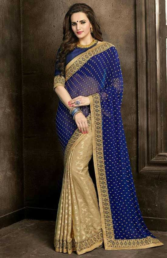 Blue Cream color designer georgette jacquard fabric saree with embroidery