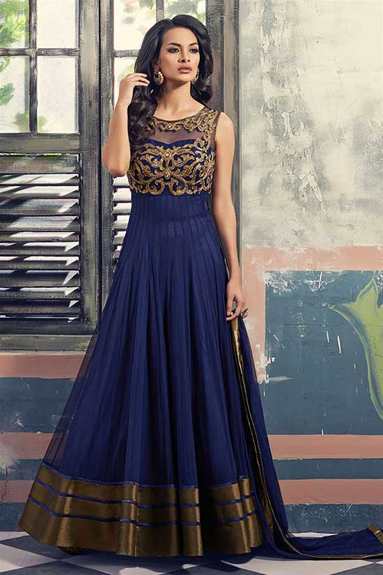 Blue Georgette Half Panel Anarkali Bridal Salwar Kameez
